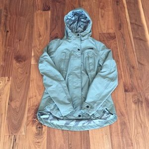 The North Face green rain jacket size xs